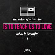 """Quote typographical background """"The object of education is teach us to love w - stock illustration"""