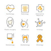 Colored Medical Health Care Icons Stock Illustration