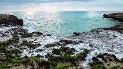Ocean's waves breaking on the reef shore. Stock Footage