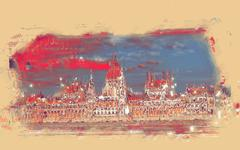Budapest Parliament building - stock illustration