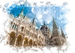 Hungarian Parliament - stock illustration