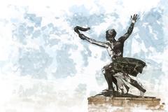 Liberty statue of Budapest Stock Illustration