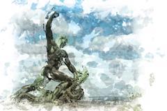 liberty statue of Budapest - stock illustration