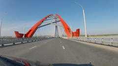 Pov driving on the Bugrinsky Bridge over the Ob River in Novosibirsk Stock Footage