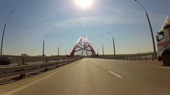Traffic on the Bugrinsky Bridge in Novosibirsk, Russia Stock Footage