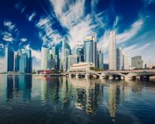 Singapore skyscrapers - stock illustration