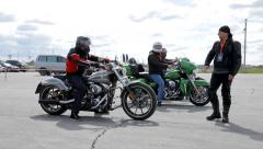Men rides motorcycles Harley-Davidson during Big Test Ride. - stock footage