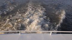 Boat Back River Sunset Foam Stock Footage