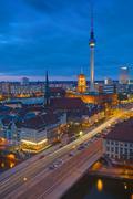 Berlin Alexanderplatz at night Stock Photos