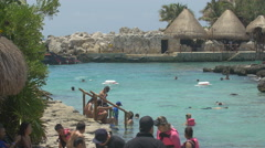 Swimming with life jackets at Xcaret Park, Mexico Stock Footage