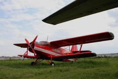 Red biplane from firefighter team - stock photo