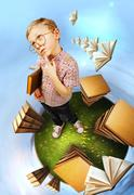 Clever little boy in glasses standing on abstract book planet - stock photo