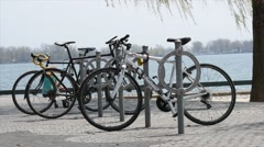 Parked Bikes with Water in Background Stock Footage