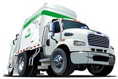 Cartoon Garbage Truck - stock illustration