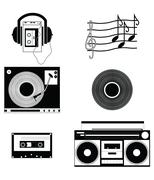 Music players and components vol 1 in black nad white - stock illustration