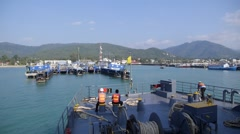 Ferry Sailing at Pier of Tropical Island. Speed up Stock Footage