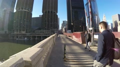 Pedestrians on the bridge in Chicago, Illinois Stock Footage