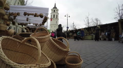 Wicker handmade baskets sold in market and people Stock Footage
