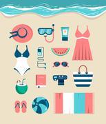 Beautiful set of beach essentials - stock illustration