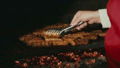 Barbecue Fire Grill - CU Stock Footage