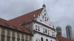 ULTRA HD 4K Beautiful facade building old town Munich church tower city center  Stock Footage