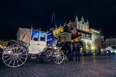 Main square old city of Krakow in  night time Stock Photos