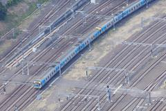Aerial view of train in motion - stock photo