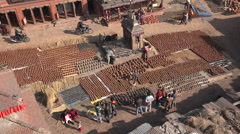 Overview of Bhaktapur Square in Nepal Stock Footage