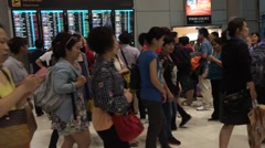 Crowd of passangers in BKK airport Stock Footage