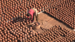 Drying pots at the Potter Square in Bhaktapur, Nepal Stock Footage