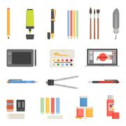 Drawing Tools Icons Flat Set Stock Illustration