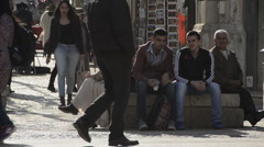 Jerusalem crowd, Jaffa street long shot, Israel - stock footage