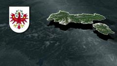 Tyrol with Coat of arms animation map Stock Footage