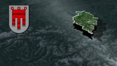 Vorarlberg with Coat of arms animation map Stock Footage