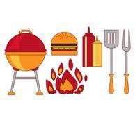 Infographic Elements Food Grill,Bbq,Roast,Steak Flat Stock Illustration