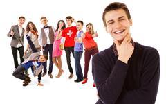 Group of cheergul teenagers who finished highschool - stock photo
