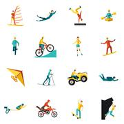 Extreme Sports Flat Icons Set - stock illustration
