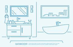 Bathroom Furniture Outline - stock illustration