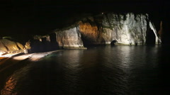 Natural Cliff in Etretat, France. Night scene. Stock Footage