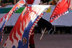Palio, the city celebrates with competitions of the flag wavers - stock photo