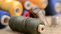 Sewing kit,rack focus, shallow depth of field Stock Footage