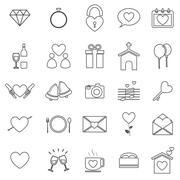 Wedding line icons on white background Stock Illustration