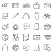 Hobby line icons on white background - stock illustration