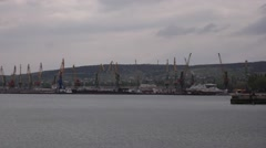 Cranes in cargo port in the afternoon Stock Footage