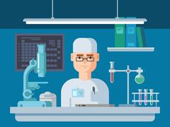 Doctor Sits in Laboratory, Healthcare and Medical Research. Stock Illustration