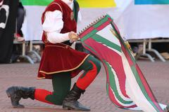 Palio, the city celebrates with competitions of the flag wavers Stock Photos