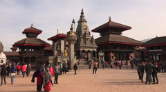 Durbar Square in Bhaktapur, Nepal Stock Footage