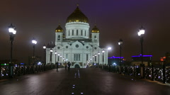 Cathedral of Christ the night in Moscow - stock footage