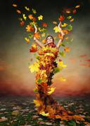 Golden Lady Autumn - stock photo