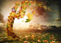Lady Autumn with wings Stock Photos